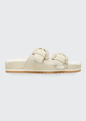 Vince Glyn Shearling Dual Buckle Slide Sandals