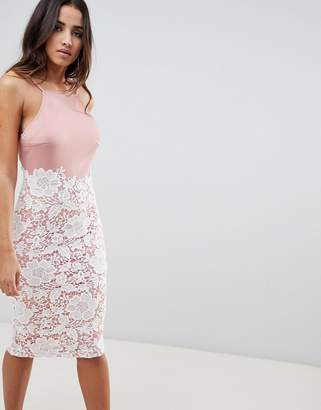 Girl In Mind lace low back midi dress-Pink