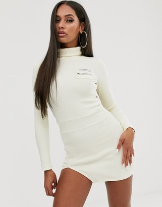 My Mum Made It bodycon dress with front logo and split in rib