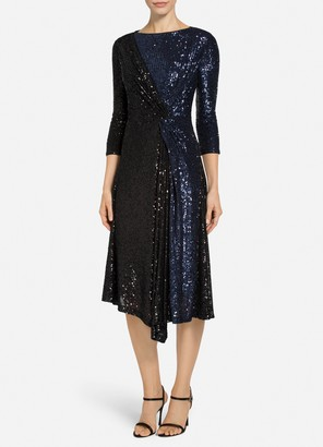 St. John Two-Tone Starlight Sequin Mesh Dress