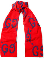 Gucci Intarsia Wool Scarf - Red