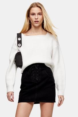 Topshop Black Lace Up Front Black Denim Skirt