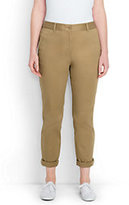 Lands' End Women's Plus Size Mid Rise Boyfriend Chino Pants-Smokey Olive