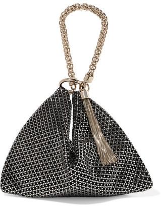 Jimmy Choo Callie Tasseled Crystal-embellished Suede Shoulder Bag - Black