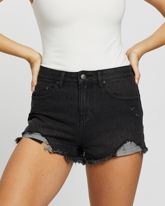 Rusty Women's Black Denim - Cut-Off Trashed Denim Shorts - Size One Size, 10 at The Iconic
