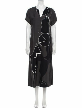 Lafayette 148 Printed Long Dress Grey