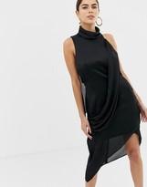 Asos Design DESIGN high neck crossover drape midi dress