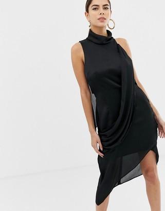ASOS DESIGN high neck crossover drape midi dress