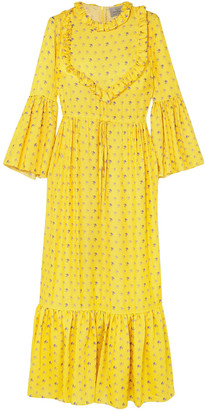 Preen by Thornton Bregazzi Tessa Ruffled Floral-jacquard Maxi Dress