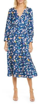 Tanya Taylor Thelma Floral Silk Jacquard Long Sleeve Silk Midi Dress