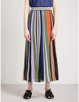 Missoni Metallic-striped knitted midi skirt