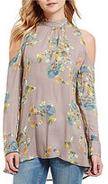 Free People Kaleidoscope Dreams Mock Neck Cold-Shoulder Tunic