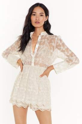Nasty Gal Womens Lace Have It Floral Mesh Playsuit - white - 8