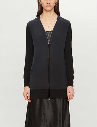 AllSaints Jamie V-neck and crepe and wool cardigan