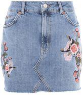 Topshop MOTO Denim Floral Skirt