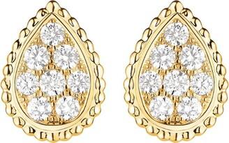 Boucheron Yellow Gold and Diamond Serpent Boheme Stud Earrings
