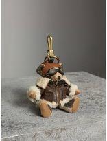Burberry Thomas Bear Charm in Shearling Aviator Jacket