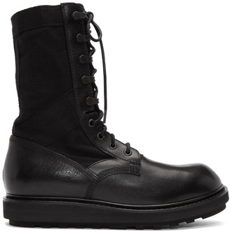 Isabel Benenato Black Leather Lace-Up Boots