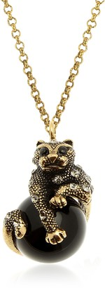Alcozer & J Black Panther Necklace w/Onyx, Swarovski Crystals and Sapphire