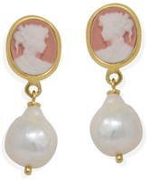 Vintouch Italy Pink Mini Cameo & Pearls Stud Earrings