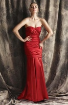 Theia Strapless Sweetheart Ruched Taffeta Gown 881196