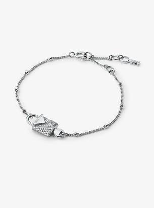Michael Kors Precious Metal-Plated Sterling Silver Pave Lock Bracelet
