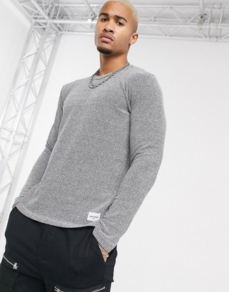 Jack and Jones Core textured crew neck knitted sweater in gray