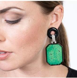 Kenneth Jay Lane Large Jade And Black Art Deco Drop Clip Earrings