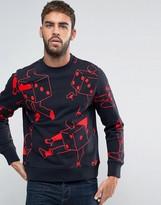 Paul Smith Crew Sweatshirt Dancing Dice in Navy