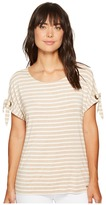 Calvin Klein Short Sleeve Stripe Tee with Tie Sleeve Women's Clothing