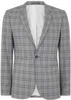 Topman Blue and Grey Check Ultra Skinny Suit Jacket