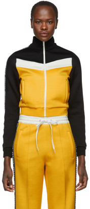 Miu Miu Yellow Elastic Logo Stripe Zip-Up Sweatshirt