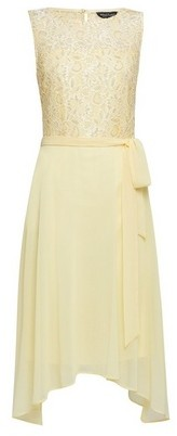 Dorothy Perkins Womens **Billie & Blossom Lemon Lace Hanky Hem Midi Dress