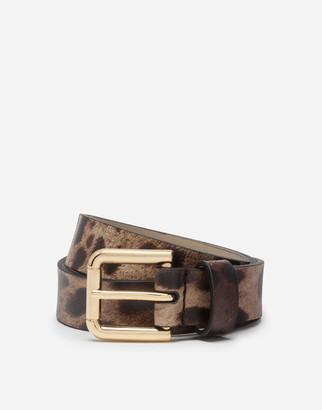 Dolce & Gabbana Calfskin Belt With Leopard Print