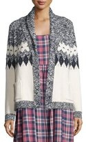 The Great The Bonfire Open-Front Cardigan, Blue & Cream