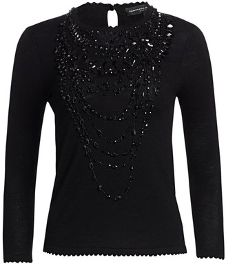 Carolina Herrera Icon Collection Wool Embellished Top