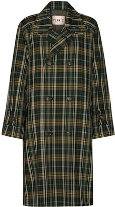 Plan C Double-Breasted Tartan Coat
