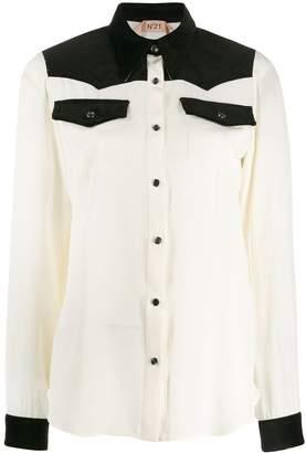 No.21 corduroy trim shirt