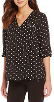Takara Polka Dot Zippered-Pocket V-Neck Blouse