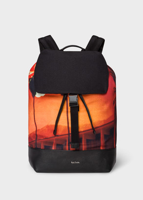 Paul Smith Orange 'Photo' Print Backpack
