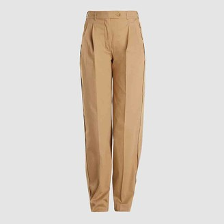 LAYEUR Neutral Leigh Tailored Mens-Inspired Cotton-Blend Trousers FR 40