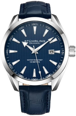 Stuhrling Original Men's Forte Blue Leather Watch