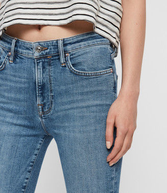 AllSaints Roxanne Cropped Ankle High-Rise Jeans, Mid Indigo Blue