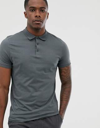Asos Design DESIGN organic jersey polo in washed black-Gray
