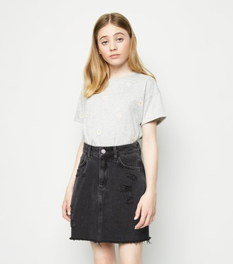 New Look Girls Bright Ripped Denim Mom Skirt