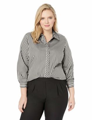 Foxcroft Plus Size Womens Vera Non Iron Stripe Tunic