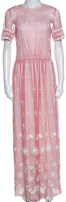 Burberry Rose Pink Embroidered Tulle Short Sleeve Dress L