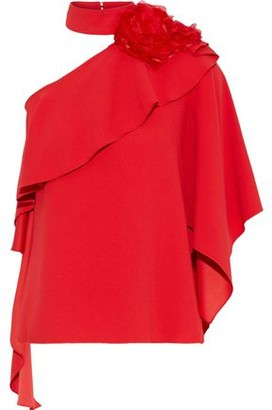 Costarellos One-shoulder Floral-appliqued Ruffled Crepe Blouse