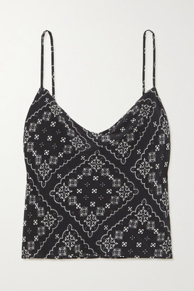 Rixo Jill Draped Paisley-print Silk Camisole - Black
