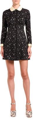 Miu Miu Abiti Satin Jacquard Galaxy Shirtdress